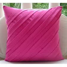 Fuschia Bedding Fuchsia Pink Pillows Cover Square Textured Pintucks Solid