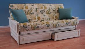 futon sofa bed with storage full size mattress wood frame coastal