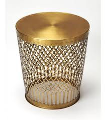 gold metal side table gold metal lattice design accent side table