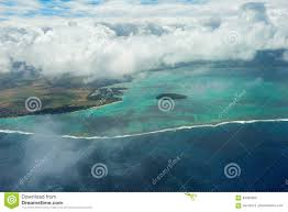mauritius beach island aerial view beautiful colours stock photo