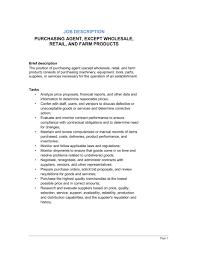 purchasing agent general job description template u0026 sample