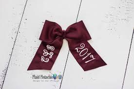 monogram graduation cap custom graduation cap bows plaid pistachio