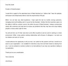 sample retail cover letter template example sales assistant cover