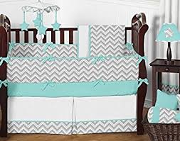 Jojo Crib Bedding Sweet Jojo Designs 9 Gray And Turquoise Chevron