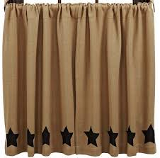 burlap natural black stencil star tier curtains 36