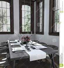 Modern White Dining Room Set by Table Set With White Dishes In Bright Dining Room Stock