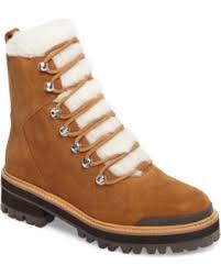 womens shearling boots size 11 deals on s marc fisher ltd izzie genuine shearling lace up