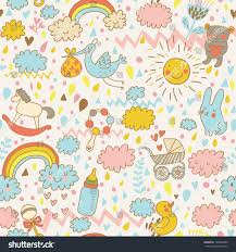 concept babys seamless pattern toys childrens stock vector
