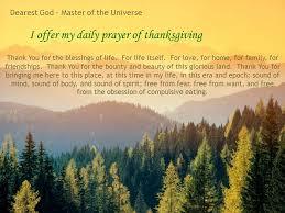 my daily meditation i offer my daily prayer of thanksgiving thank