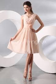 knee length bridesmaid dresses retro v neckline a line knee length chagne junior bridesmaid