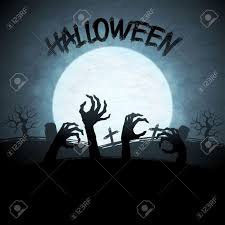 halloween background with zombies and the moon royalty free
