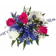 royal blue corsage wrist corsage in royal blue pink mebane nc florist gallery