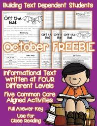 freebie bats reading passage with common core aligned questions