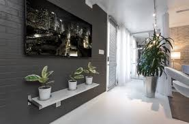 Dark Hallway Ideas by Captivating Hallway Decoration With Rectangular Lcd Tv Mounted On