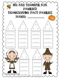 thanksgiving fact family worksheet addition