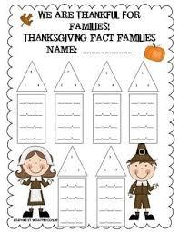 thanksgiving fact family worksheet addition