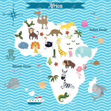 Africa Continent Map by Cartoon Map Of Africa Continent With Different Animals Colorful