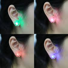light up earring studs 4 pcs fashion five pointed shape led earrings glowing light