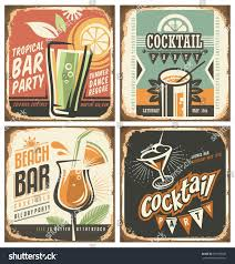 cocktail bar retro tin sign set stock vector 361989659 shutterstock