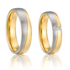 wedding ring designs gold his and hers wedding band rings pair set gold color