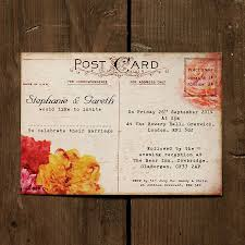 wedding postcards floral vintage postcard wedding invitation paperzone