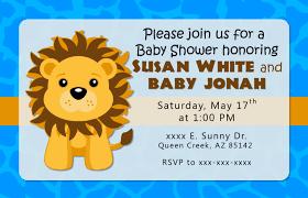 blue lion baby shower invitation or birthday invitations