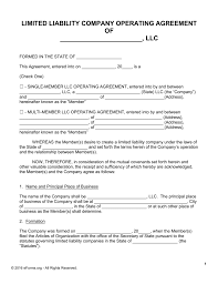 Contract Templates Free Word Templates Free Llc Operating Agreement Templates Pdf Word Eforms