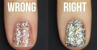 how to apply glitter nail polish the right way teen vogue