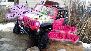 pink jeep rubicon scx10 jeep rubicon transforms into camp a girls jeep youtube