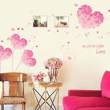 compare prices on adhesive wall paper online shopping buy low heart shape flowers love wall stickers decals valentine adhesive pvc wall paper girls women couples bedroom