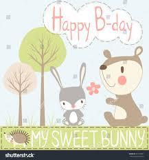 happy birthday my sweet bunnychildrens greeting stock vector