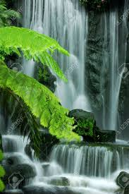 japanese zen garden waterfalls in slow shutter stock photo