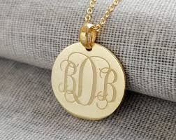 three initial monogram necklace monogram necklace etsy