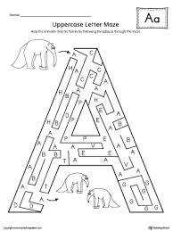 uppercase letter a maze worksheet maze worksheets and alphabet