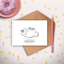cat birthday card printable instant digital