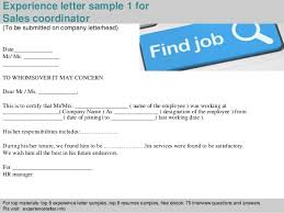 Sales Coordinator Sample Resume by Sales Coordinator Experience Letter