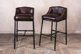 uk bar stools steamer bar stool industrial look steel and leather