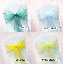 yellow chair sashes yellow teal apple green baby blue chair sashes