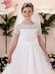where to buy communion dresses satin tulle and lace tea length a line dress with illusion