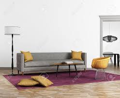 modern scandinavian style interior with a grey sofa and a violet
