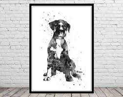 boxer dog wall art boxer dog watercolor etsy
