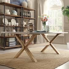 SIGNAL HILLS Aberdeen Industrial Zinc Top Weathered Oak Trestle - Trestle kitchen tables