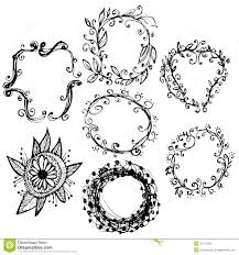 circle floral borders sketch frames hand drawn vector stock