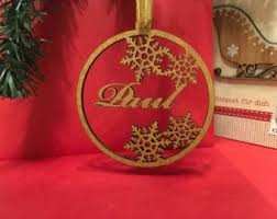 personalised name bauble tree decorations gold