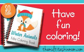 winter animals mini coloring book multi taskin u0027 mom