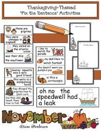 thanksgiving themed fix the sentence activities punctuation