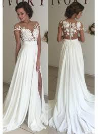 short sleeve a line chiffon summer wedding dresses split lace