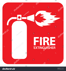 drawing red fire extinguisher on floor stock vector 91988309