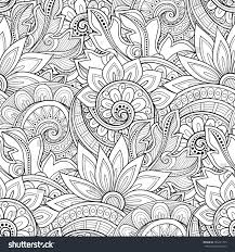 Decorative Flowers by Vector Seamless Monochrome Floral Pattern Hand Stock Vector