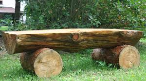 Wooden Bench Seat Plans by Creating Massive Log Bench Logs Pine And Gardens